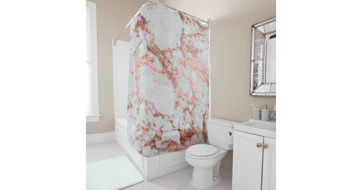 Modern faux rose gold glitter marble texture image shower curtain ...