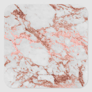 Modern faux rose gold glitter marble texture image square sticker
