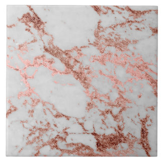 Modern faux rose gold glitter marble texture image tile