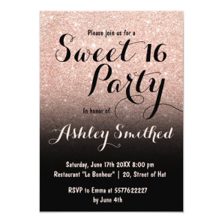 Modern faux rose gold glitter ombre black Sweet 16 Card