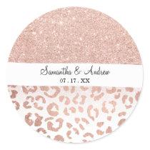 Modern faux rose gold glitter ombre leopard classic round sticker