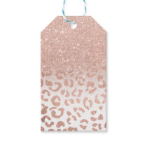 Modern faux rose gold glitter ombre leopard gift tags