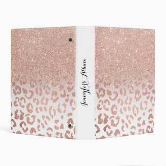 Modern faux rose gold glitter ombre leopard mini binder