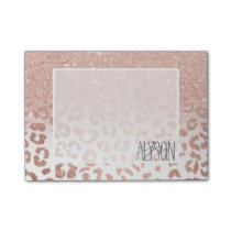 Modern faux rose gold glitter ombre leopard post-it notes