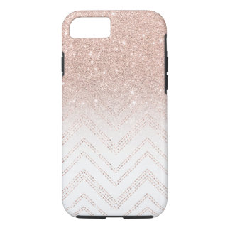Modern faux rose gold glitter ombre modern chevron iPhone 8/7 case