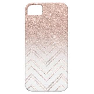Modern faux rose gold glitter ombre modern chevron iPhone SE/5/5s case