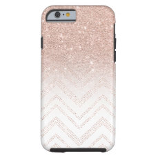 Modern faux rose gold glitter ombre modern chevron tough iPhone 6 case