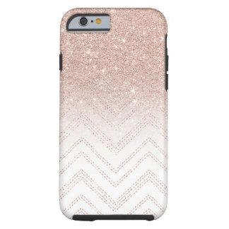 Modern faux rose gold glitter ombre modern chevron tough iPhone 6 case