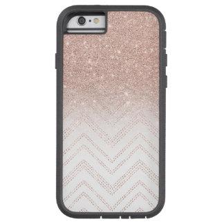 Modern faux rose gold glitter ombre modern chevron tough xtreme iPhone 6 case