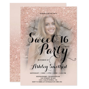 Sweet 16 invitations zazzle modern faux rose gold glitter ombre photo sweet 16 invitation solutioingenieria Image collections