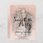 """Modern faux rose gold glitter ombre photo Sweet 16 Invitation<br><div class=""""desc"""">A modern, pretty faux rose gold glitter shower ombre with pastel blush pink color block Sweet 16 birthday party invitation with your custom photo with rose gold ombre pattern fading onto a pink background. Perfect for a princess Sweet sixteen, perfect for her, the fashionista who loves modern pattern and glam...</div>"""