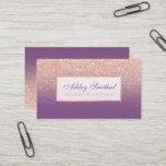 "Modern faux rose gold glitter purple ombre makeup business card<br><div class=""desc"">Modern faux rose gold glitter with customizable purple with faux rose gold frame ombre makeup artist business card.</div>"