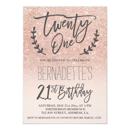 Modern Faux Rose Gold Glitter Script 21st Birthday Invitation