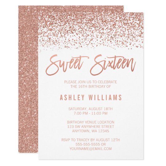 modern faux rose gold glitter sweet 16 birthday invitation zazzle com