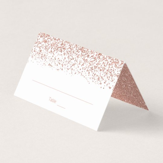 modern faux rose gold glitter wedding folded place card - Folded Place Cards