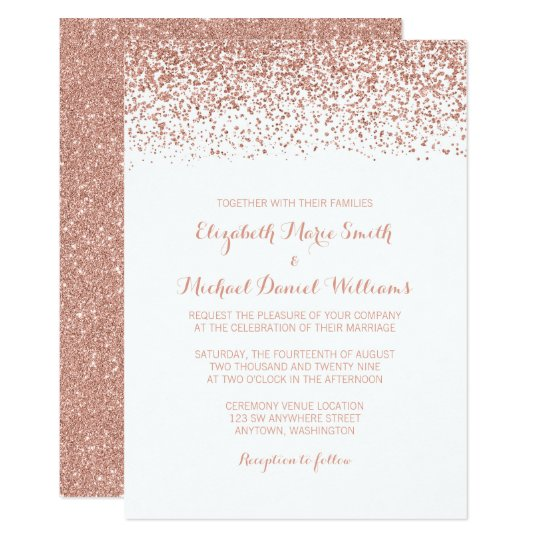 Modern Faux Rose Gold Glitter Wedding Invitations Zazzle Com