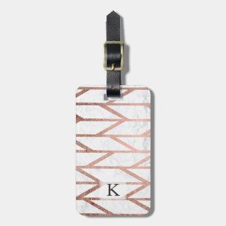 Modern faux rose gold herringbone chevron pattern luggage tag