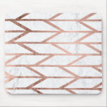 "Modern faux rose gold herringbone chevron pattern mouse pad<br><div class=""desc"">A modern,  trendy and cool faux rose gold foil geometric herringbone chevron and stripes pattern on a white marble background.</div>"
