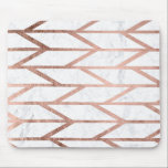 """Modern faux rose gold herringbone chevron pattern mouse pad<br><div class=""""desc"""">A modern,  trendy and cool faux rose gold foil geometric herringbone chevron and stripes pattern on a white marble background.</div>"""