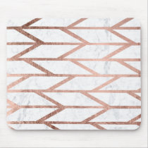 Modern faux rose gold herringbone chevron pattern mouse pad