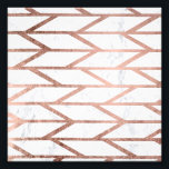 "Modern faux rose gold herringbone chevron pattern photo print<br><div class=""desc"">A modern,  trendy and cool faux rose gold foil geometric herringbone chevron and stripes pattern on a white marble background.</div>"