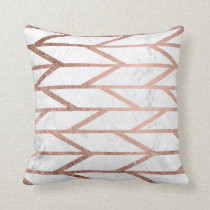 Modern faux rose gold herringbone chevron pattern throw pillow