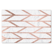 Modern faux rose gold herringbone chevron pattern tissue paper