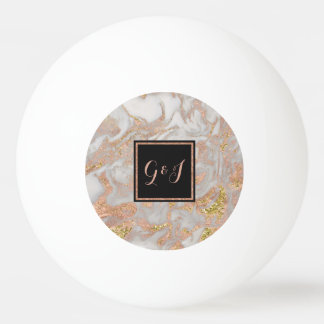 Modern Faux Rose Gold Marble Monogram Couples Ping Pong Ball