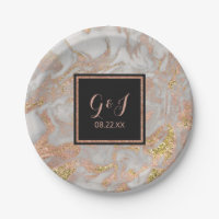 Modern Faux Rose Gold Marble Monogram Wedding Paper Plate