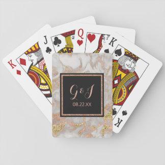 Modern Faux Rose Gold Marble Monogram Wedding Playing Cards