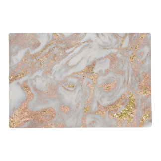 Modern Faux Rose Gold Marble Swirl Chic Placemat
