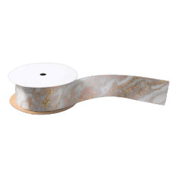 Modern Faux Rose Gold Marble Swirl Chic Satin Ribbon