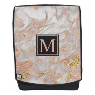 Modern Faux Rose Gold Marble Swirl Monogram Backpack