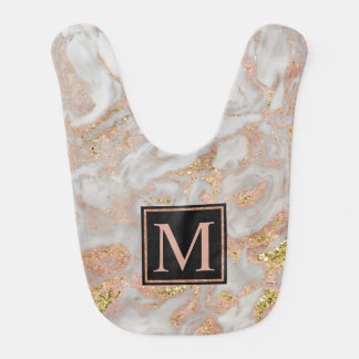 Modern Faux Rose Gold Marble Swirl Monogram Bib