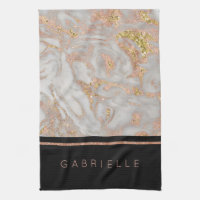 Modern Faux Rose Gold Marble Swirl Monogram Kitchen Towel