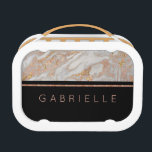 """Modern Faux Rose Gold Marble Swirl Monogram Lunch Box<br><div class=""""desc"""">Add your Personalized Text to this chic Rose Gold Marble Modern Lunch Box, it's easy! Just Replace with Your Custom Name on the right. Make a one of a kind gift, or a sweet something just for you! You can also leave the Custom text area BLANK, for a no text...</div>"""