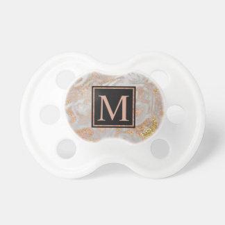 Modern Faux Rose Gold Marble Swirl Monogram Pacifier