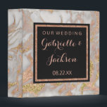 """Modern Faux Rose Gold Marble Wedding Photo Album 3 Ring Binder<br><div class=""""desc"""">Add your Personalized Text to this chic Rose Gold Marble Modern Wedding Photo Album, it's easy! Just Replace with Your Custom Text on the right. You can also leave the Custom text area BLANK, for a no text design option. This trendy design Features a Chic Gray &amp; Rose Gold Marble...</div>"""