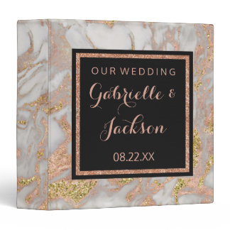 Modern Faux Rose Gold Marble Wedding Photo Album 3 Ring Binder