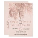 Modern faux rose gold palm tree blush Sweet 16 Card