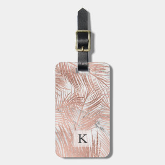 Modern faux rose gold palm tree leaf marble luggage tag