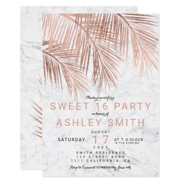Beach Themed Modern faux rose gold palm tree marble Sweet 16 Card