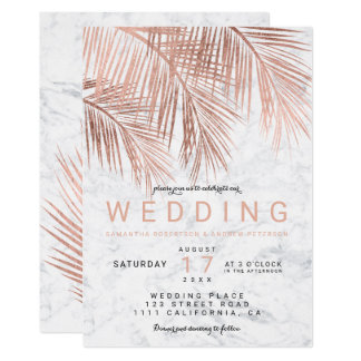 Modern faux rose gold palm tree marble wedding invitation