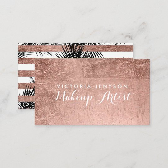 Modern Faux Rose Gold Palm Trees Chic Makeup Business Card