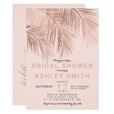 Beach Themed Modern faux rose gold palmtree blush Bridal shower Card