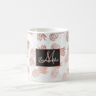 Modern faux rose gold pineapples white marble coffee mug