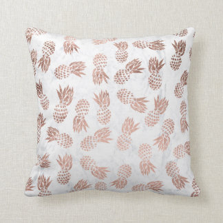 Modern faux rose gold pineapples white marble throw pillow