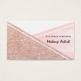 Modern faux rose gold pink watercolor block Makeup Business Card