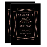 Modern faux rose gold script geometric wedding invitation