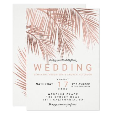 Beach Themed Modern faux rose gold tropical palm tree wedding card